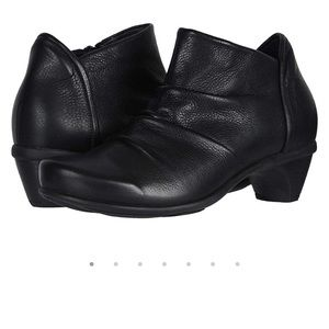 NAOT Advance Black Leather Zip Ankle bootie
